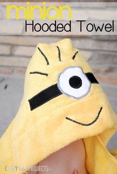 Minion Hooded Towel Tutorial by Crazy Little Projects; picture tutorial - could not find a pattern link; it might be a project from her book of hooded towel projects Easy Sewing Projects, Sewing Hacks, Sewing Tutorials, Love Sewing, Sewing For Kids, Hooded Towel Tutorial, Sewing Classes For Beginners, Diy Bebe, Sewing Lessons
