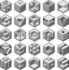 Illustration about Abstract cube design elements set. Illustration of design, ideas, label - 26517862 Art Isométrique, Op Art, Isometric Drawing, Isometric Cube, Quilt Modernen, Cube Design, 3d Drawings, Illusion Art, Geometric Designs