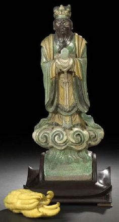 Roof Tile; Chinese Pottery, Ming Dynasty, God of the Underworld, 16 inch.