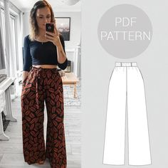 diy fashion Womens high waisted, wide leg trousers, elasticated waist and pockets Sewing Stitches, Pdf Sewing Patterns, Free Sewing, Clothing Patterns, Dress Patterns, Shirt Patterns, Sewing Basics, Sewing For Beginners, Knitting Beginners