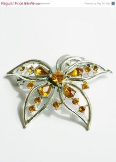 July Sale Amber Rhinestone Flower Brooch by PuddinRidgeCreations