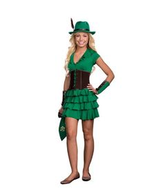 Dreamgirl Juniors Robyn Da Hood 6Piece Hem Dress and Faux Suede Waist Cincher Green Small *** Check this awesome product by going to the link at the image.