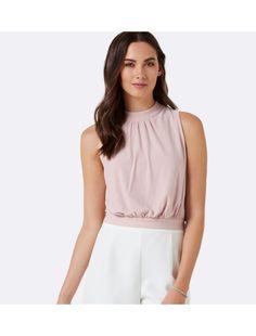 Evangeline High Neck Crop Vanilla Blush - Womens Fashion | Forever New