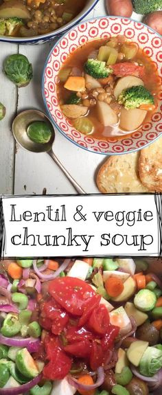 With this lentil & veggie chunky soup, you'll taste sunshine in a bowl! It is fresh, a little sweet, earthy, creamy, crunchy, sooo comforting, oh and....gluten free. Amazing Recipes, Yummy Recipes, Great Recipes, Soup Recipes, Vegetarian Recipes, Dinner Recipes, Healthy Recipes, Awesome Food, Good Food