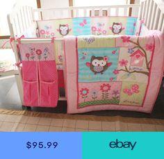 4940d8fb9 New Baby Girls Pink Nursery Bedding Set 8PCS CribCot Accessories Cute Owl  Quilt Baby Girl Bedding