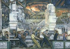 Detroit Industry, North Wall (detail, center panel) by Diego Rivera from Detroit Institute of Arts