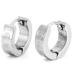 R&B Joyas - Pendientes de hombre, anillos grabados, acero inoxidable, color plateado: Amazon.es: Joyería