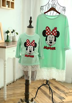 2015 Autumn Winter Family look girl and mother T-shirt minnie pattern family clothing 2-8Y kids family matching outfits