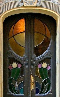 Prague Art Nouveau Stained Glass Doors