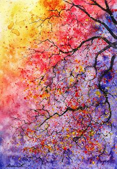 Colorful Watercolor Paintings of Radiant Trees in Nature by Anna Armona -
