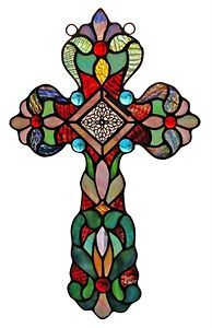 Cross Design Stained Glass Window Panel Handcrafted New | eBay