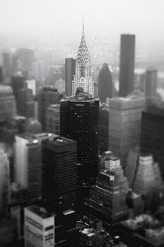 New York City - Skyline and Chrysler Building on a Foggy Evening