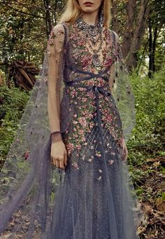 Shop Embroidered Tulle Gown With Cape. Marchesa's tulle gown has detailed floral embroidery along the top, a matching sheer cape and a deep V-neckline. Queen Dress, Dress Up, Beautiful Gowns, Beautiful Outfits, Fantasy Gowns, Fairy Dress, Tulle Gown, Costume Design, Look Fashion