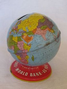 Vintage Metal Coin World Bank Tin Toy Globe Piggy Bank Mfg by Ohio Art Co.