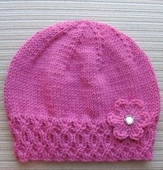 Knitted beanie with Flower Knitted Hat with Flower, Free knitting pattern. Hat is knit and flower is crochet. Crochet Kids Hats, Baby Hats Knitting, Knitting For Kids, Baby Knitting Patterns, Free Knitting, Knit Or Crochet, Crochet Baby, Crochet Patterns, Knitting Needles