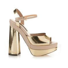 Chrissie Morris Farrah leather platform-heeled sandals (€405) ❤ liked on Polyvore featuring shoes, sandals, gold, metallic gold sandals, chunky platform shoes, chunky heel sandals, open toe sandals and chunky block heel sandals