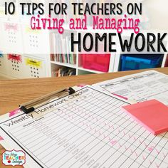 Top ten homework tips for teachers for giving and managing homework in a stress-free classroom! Effective homework strategies for everyone! Teacher Blogs, Teacher Hacks, Teacher Resources, Resource Teacher, Teaching Tools, Teacher Stuff, Homework Checklist, Teacher Checklist, Classroom Organization