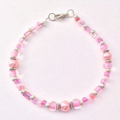 Pink & Silver Beaded Bracelet, Glass Czech Seed Beads Braclet, Dainty Stacking Friendship, Fashionista Jewelry Wrist Wear Choose Your Size