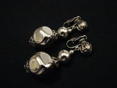 Vintage Silver Tone Puffy Beaded Dangle Clip Earrings by ditbge, $5.25