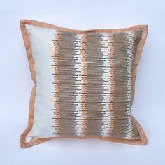 Orange and Grey Cushion: Hand printed with original design image 0
