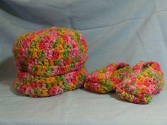 Newborn to 3 months Crochet Hat and Bootie Set | AllInADaysWork - Crochet on ArtFire