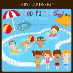 Pool Party Clipart set with 15 graphics.  Cute for stickers, t-shirt design, invitations, scrapbooking and more.