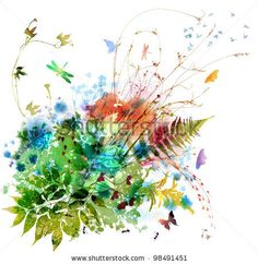 Floral Spring And Summer Design, Watercolor Painting Stockfoto: 98491451 : Shutterstock