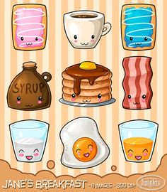 Kawaii Breakfast Clipart by DigitalArtsi on @creativemarket