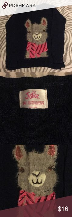 Justice girls sweater. Justice girls sweater. Fuzzy llama graphic. Worn once, like new! Justice Shirts & Tops Sweaters