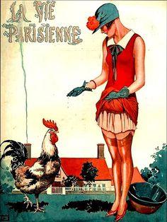 La Vie Parisienne Woman Feeding a Chicken July __, 1925 George Leonnec
