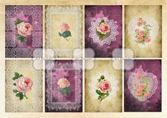 Digital Collage Sheet Purple and Gold ATC Cards by ArtRooster