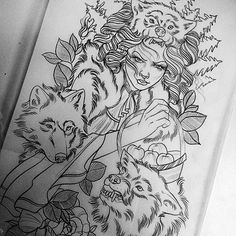 girl and wolves #tattoos #tattoo #ink