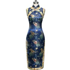 Periwing Traditional Navy Blue Satin Chrysanthemum Print Chinese Dress... ($5) ❤ liked on Polyvore featuring dresses, blue satin dress, blue party dress, qipao dress, navy dress and blue dress