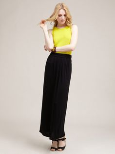 Pleated Jersey Maxi Skirt by Avaleigh
