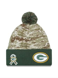 7dc40c062 GREEN BAY PACKERS 2015 Salute to Service New Era On Field Cuffed Knit Hat -Camo