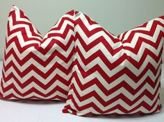 Chevron pillow shams - ONE   DECORATIVE THROW pillow cover   Red Pillow  Accent  cushion covers