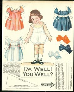 """Uncut 5"""" Paper Doll w 3 Costumes Promotes Sterizol """"I'M Well You Well """" C1930s 