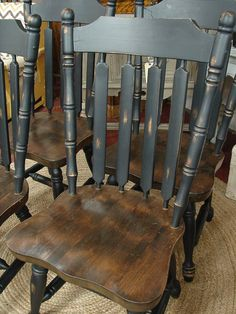 Reclaimed Vintage Black Paint Early American Set 4 Dining Kitchen Chair Chairs Sale CALL For