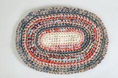 rag rug:  hand-crochet + hand-cut recycled t-shirt + other yarn