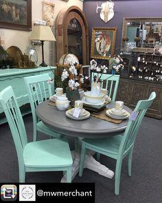 Repost From @mwmerchant Using @RepostRegramApp   Sweet Table And Chairs!  MudPaintu0027s China White