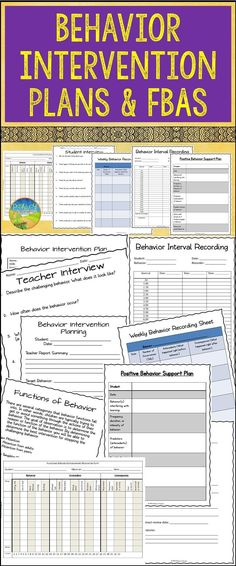 Behavior Intervention Plan Editable Forms and Data Sheets - behavior intervention plan