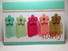 Happy Watercolor Card with Petite Petals
