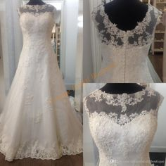 Romantic Wedding Dresses 2017 Designer Cheap With Sheer Neck And Zipper Back Real Images Bridal Gowns Long Train Wedding Dress Patterns Wedding Party Dresses From Uniquebridalboutique, $132.42| Dhgate.Com