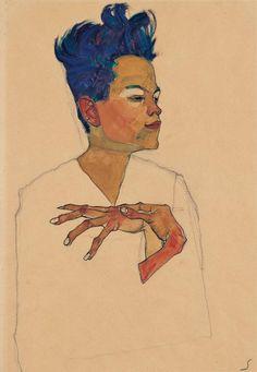 Egon Schiele (Austrian, 1890–1918) - Self-portrait with hands on chest (1910) - Charcoal, watercolour and gouache - Kunsthaus Zug, Stiftung Sammlung Kamm