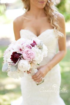 #7- This is a gorgeous bouquet.  This would need more dusty miller, seeded eucalyptus and about 50% more color.
