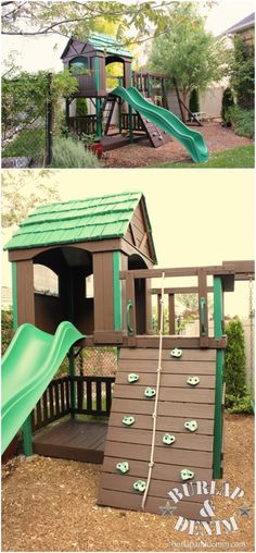 Like the dark brown stain and green--How to use A Solid Stain to Weather Proof a Swing Set