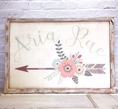 Baby Girl Nursery Name Sign, Wall Decor, Shabby Chic Nursery Decor, Flowers, Arrow,  Calligraphy Name Sign,  Girl Bedroom