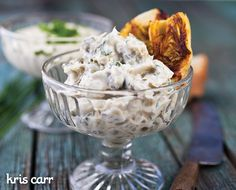 Made this as a Thanksgiving app, served with Vans gluten-free crackers. So yummy! Artichoke Aioli - KrisCarr.com