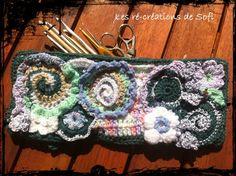 trousse 1 Freeform Crochet, Irish Crochet, Knit Crochet, Crochet Bags, Wet Felting, Needle Felting, Yarn Thread, Love Hat, Couture
