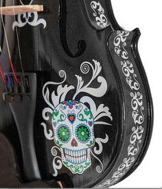 Black Glitter Violin, Sugar Skull, Mariachi student violin outfit
